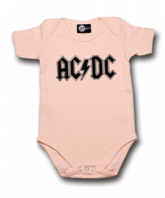AC/DC Baby Romper Logo Pink