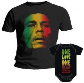 Duo Rockset Bob Marley papa t-shirt & Bob Marley baby romper