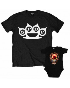 Duo Rockset Five Finger Death Punch papa t-shirt & Five Finger Death Punch baby romper