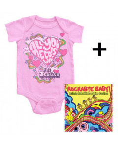 Cadeauset Beatles body All You Need Is Love & Beatles Rockabyebaby cd