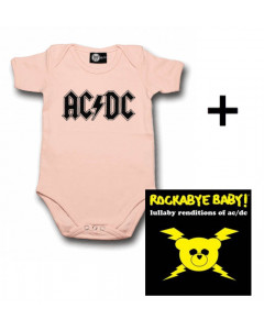 Cadeauset AC/DC Baby Romper Logo Pink & AC/DC CD